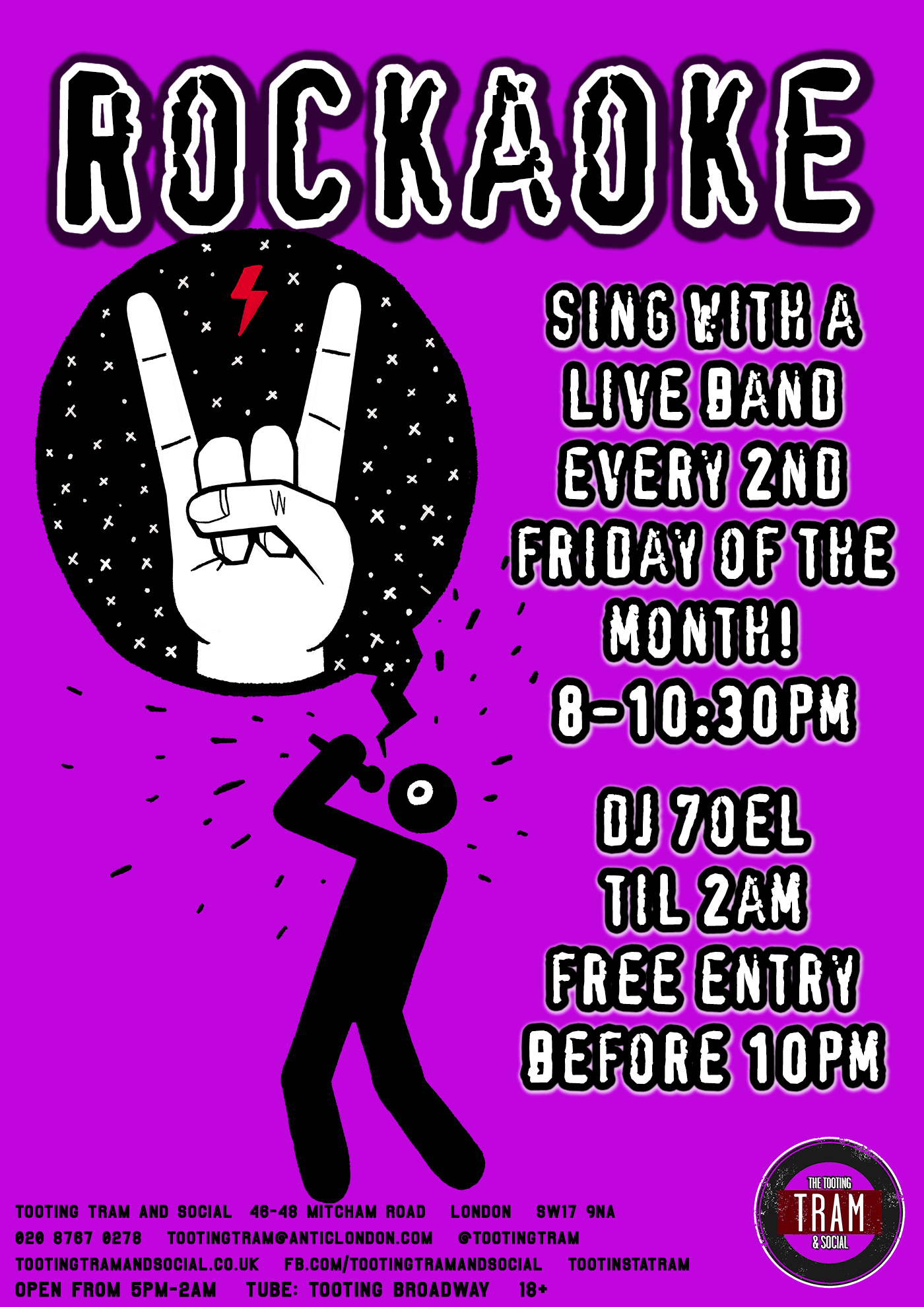 Rockaoke! / Sing with a live band! // DJ 7oel til 2 // free before 10pm